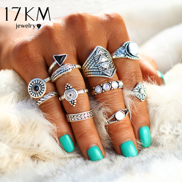 17KM Fashion Leaf Stone Midi Ring Sets Vintage Crystal Opal Knuckle Rings For Wo