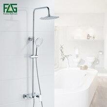 Flg Luxe Enkele Handgreep Messing 3 Functies Waterval & Rain Douchekraan Set Met Handdouche Verchroomd Wall Mounted