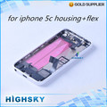 1 piece free shipping replacement parts metal battery door for iphone 5C housing case back cover + side keys + flex cables