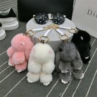 2018 New Gift Cute Rabbit Real Mink Fur Ball bunny Keychain Car Key Chain Ring Pendant For Bag Charm