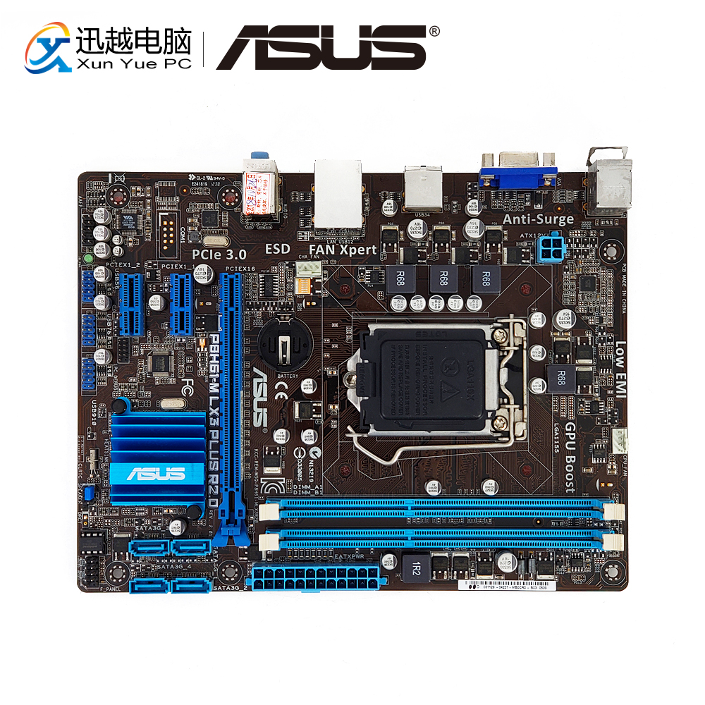 Asus P8H61-M LX3 PLUS R2.0 Desktop Motherboard H61 Socket LGA 1155 For Core I3 I5 I7 DDR3 16G SATA2 UATX Original Used Mainboard