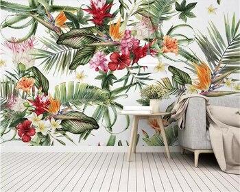 Beibehang Personal silk material 3d wallpaper tropical rainforest plant cactus flowers Modern home interior decoration