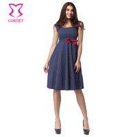 Białe Polka Dot Niebieska Bawełniana Z Czerwonym Dziobem Retro Jesień Sukienka Plus Size Odzież Damska Bez Rękawów Klub Stroną Rockabilly Sukienki