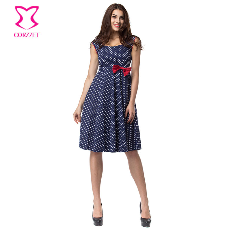 US $21.95 40% OFF|White Polka Dot Blue Cotton With Red Bow Sleeveless Retro  Autumn Dress Plus Size Women Clothing Club Party Rockabilly Dresses-in ...