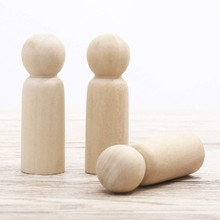 Unfinished Wooden Peg Dolls Tiny Doll Bodies People Decorations,Wood Color 10 Pieces 65 mm