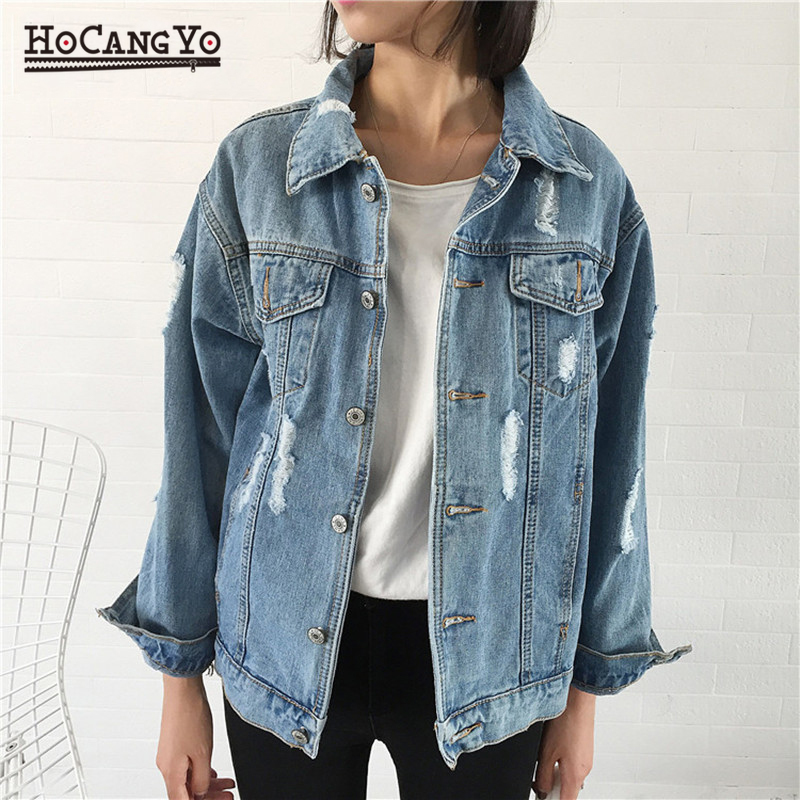 Fashion Women Denim Jackets and Coats Casual Spring Hole Ripped Basic Jacket for Women Jean Coats Vintage Jaqueta Jeans Feminina