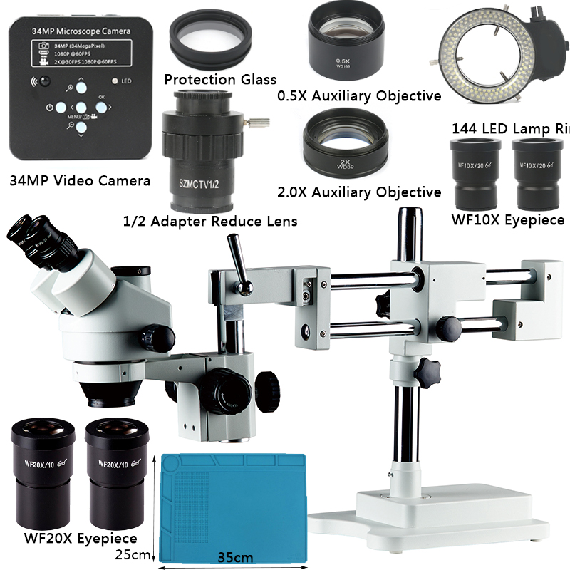 3 5X 7X 45X 90X Double Boom Stand Zoom Simul Focal Trinocular Stereo Microscope 34MP Camera