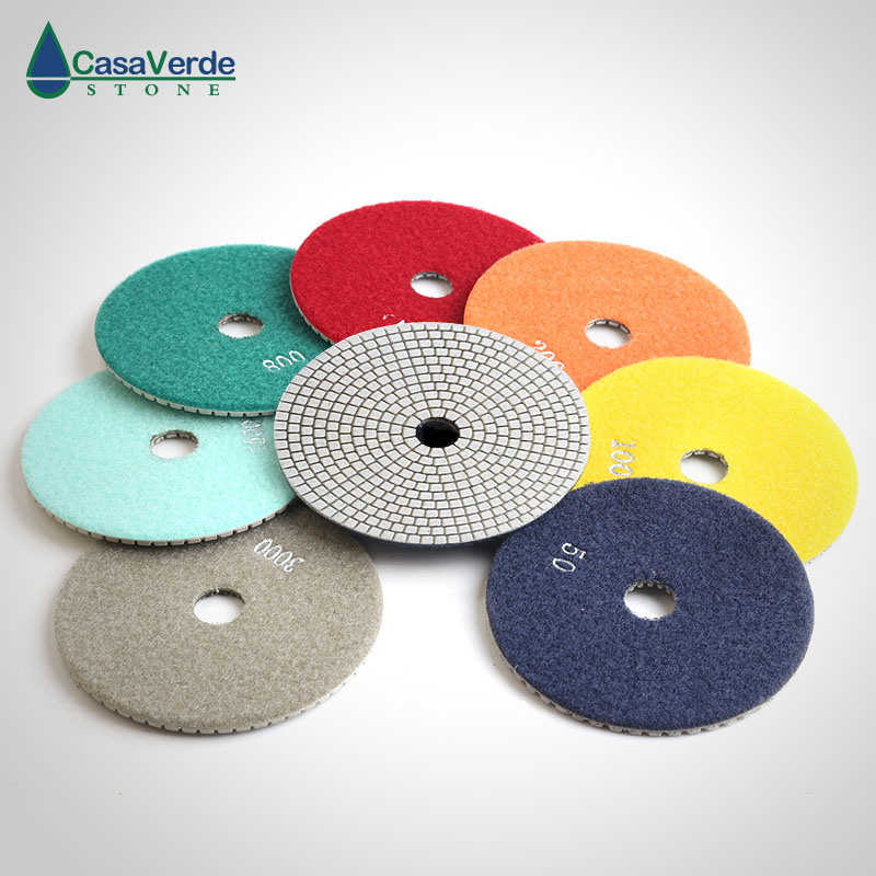 Free shipping 6 inch diamond polishing pads 150mm dry and wet polishing granite marble engineer stone 4 inch diamond polishing pads 19 piece set granite marble concrete stone wet dry 2018 new arrival