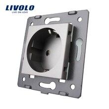Livolo Разъем diy запчасти, белый пластик материалы, ЕС стандартный, функция ключ для настенная евро розетка, VL-C7-C1EU-11
