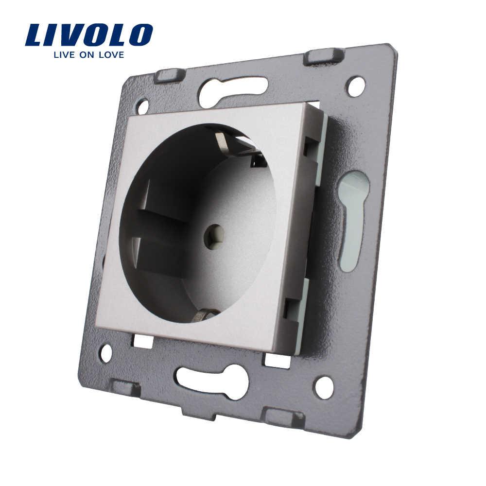 Livolo Socket DIY Parts, Putih Bahan Plastik, Standar Uni Eropa, Tombol Fungsi untuk Uni Eropa Dinding Soket VL-C7-C1EU-11