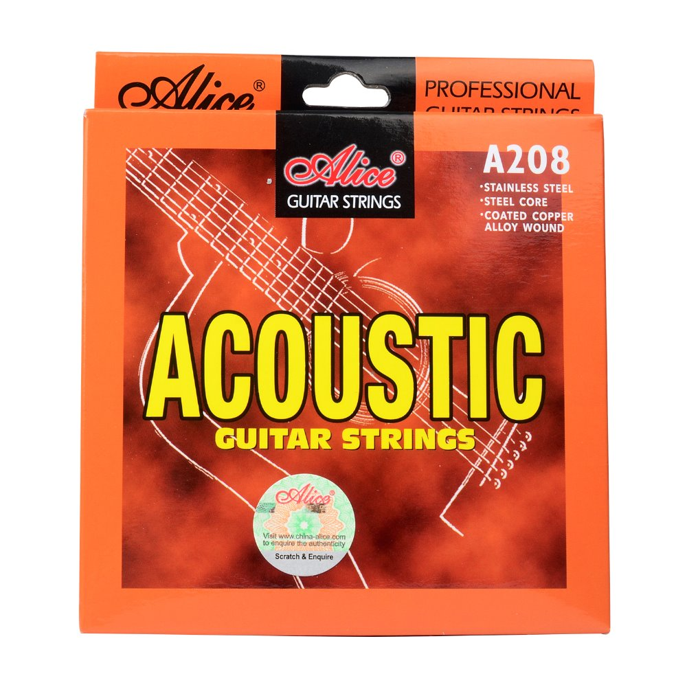 Alice Acoustic Guitar Strings Coated Steel Bronze Color Alloy Wound 011 012 inch A208