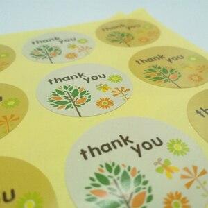 Image 5 - 1200 Stks/partij Dank U Kleine Boom Kerst Bakken Sealing Kraft Sticker Seal Label Diy Ronde Papier Sticker Label Groothandel