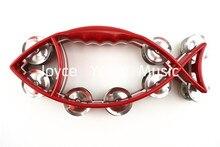 Alice Double Jingles Fish Shape Tambourine Percussion Handbell Tambourine  Free Shipping