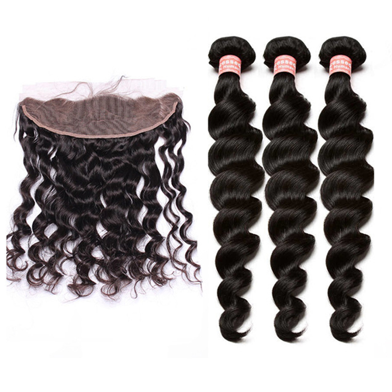 Loose Wave Bundles With Frontal 4 PCS Lace Frontal Closure With Bundles Natural Black Pre Plucked Brazilian Remy Hair