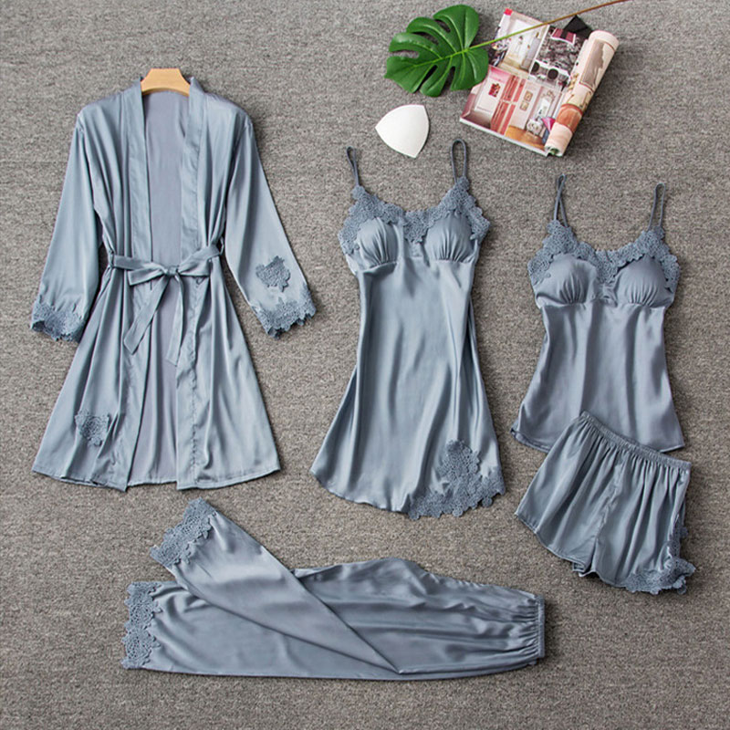 5 Pieces Satin Sleepwear Pijama Women Pajamas Silk Home Wear Home Clothing Embroidery Sleep Lounge Pyjama with Chest Pads