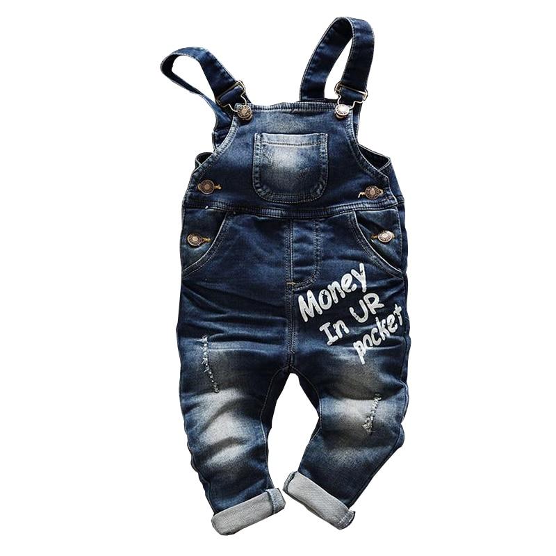 Gratis frakt 2018 vårhöst Baby pojke overaller bib barn denim byxor spädbarn jumpsuit barnkläder romper barn jeans