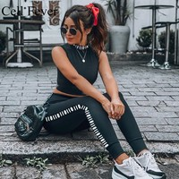 2019 Women's Tracksuit Tights Sportswear Fitness Yoga Suit Sport Set For Female Gym Vest Workout Two Piece Leggings Crop Tops