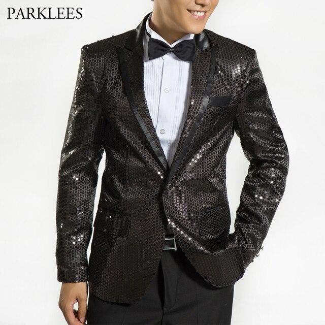 6d853e32e Hombre negro lentejuelas brillo chaquetas club de baile de graduación  vestidos vestido de traje chaqueta Blazer