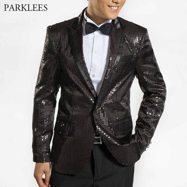 Mens Black Sequin Glitter Blazers Jackets Nightclub Prom Embellished Dress  Suit Blazer Men Stage Party Singer DJ Costumes Homme c47d0122bc55