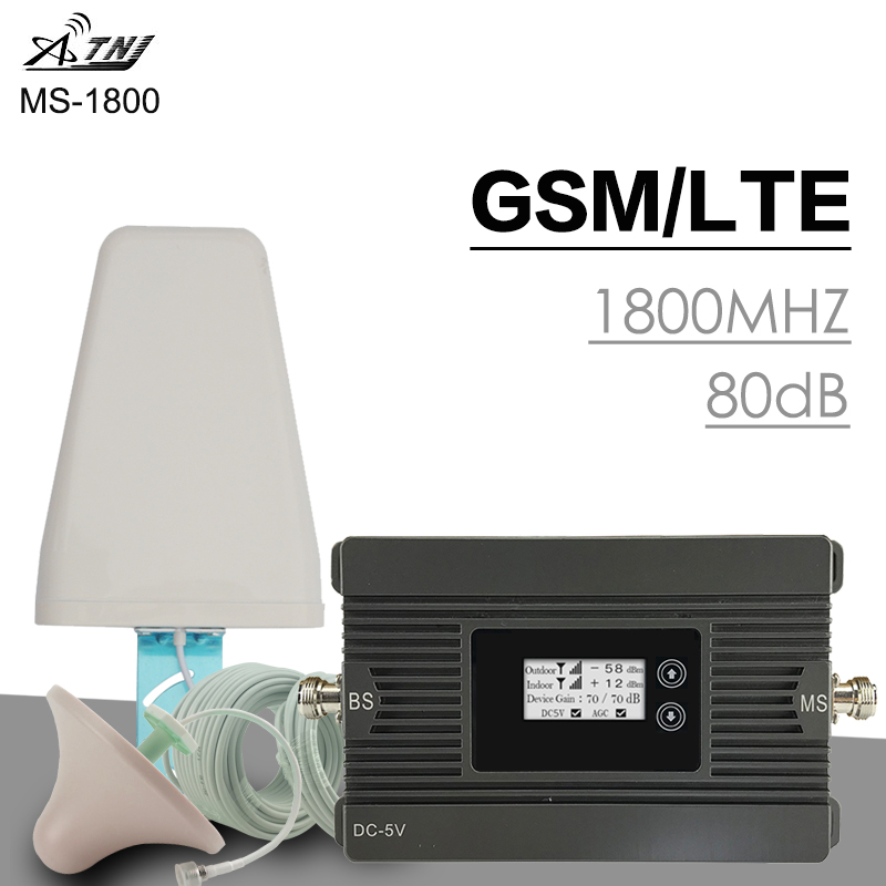 500 Sqm ATNJ 4G LTE DCS 1800MHz Cellular Signal Amplifier 80dB Gain GSM Moblie Phone Repeater 2G 4G LTE Smart Signal Booster Kit