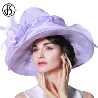 FS Chapeau De Mariage Purple Vintage Ladies Hats With Wedding Dress Women Organza Hat Large Brim