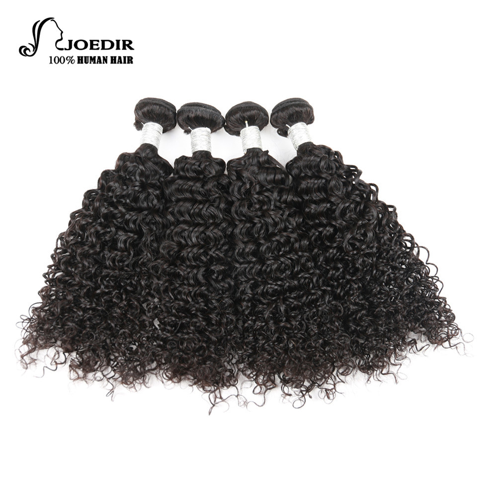 Joedir Pre-colored 4 Bundles Indian Curly Hair Wave Human Hair Bundles Deals Remy 10- 26 Hair Weave Extensions Free Shipping