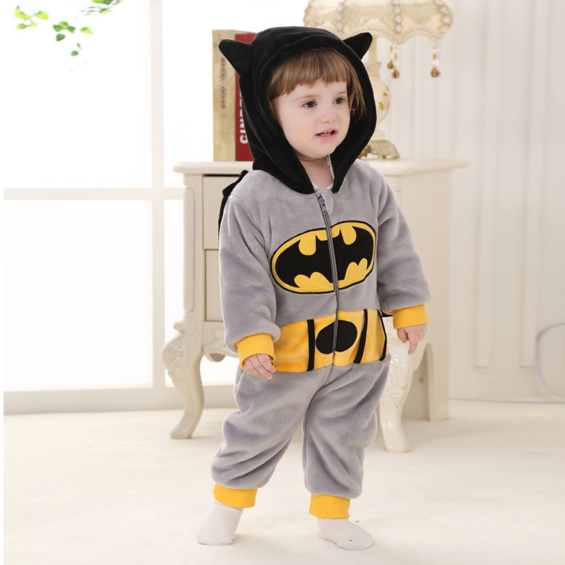 Baby Boys Winter Romper Long Sleeve Soft Flannel Thicken Hooded Batman Rompers Newborn Infantil Clothing Set Jumpsuit winter warm thicken newborn baby rompers infant clothing cotton baby jumpsuit long sleeve boys rompers costumes baby romper