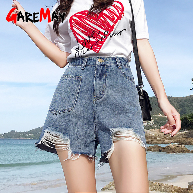 0760555ed24 Garemay Black Ripped Denim Shorts For Women Plus Size 2019 High Waisted  Distressed Loose Women s Jeans Shorts Summer