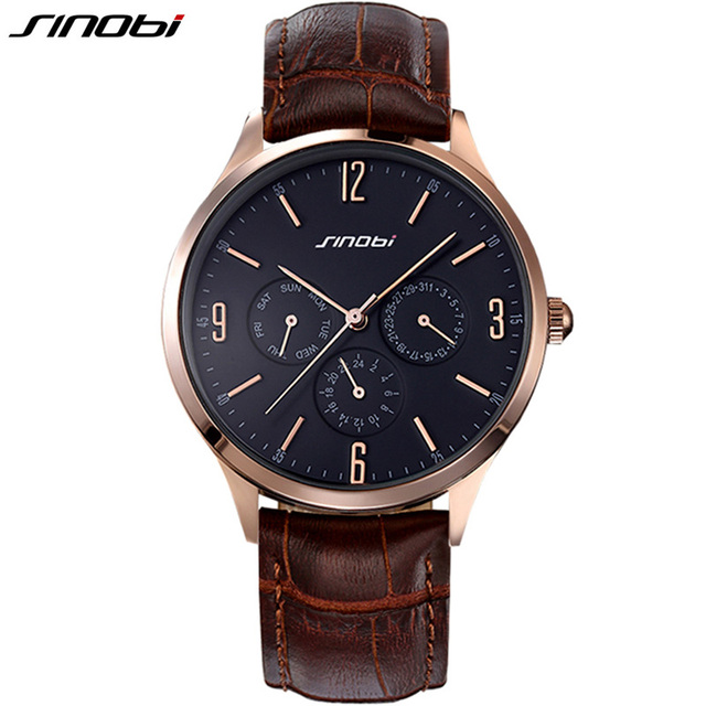 2016 Ultra Slim Top brand Quartz Watch Casual Business JAPAN SINOBI Genuine Leather Analog Watch Men's Relogio Masculino gifts