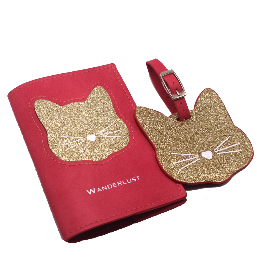 Zoukane Women Grils Travel Passport Cover&Luggage Tag Cat Label Name ID&Document Passport Holder CH03&LT24