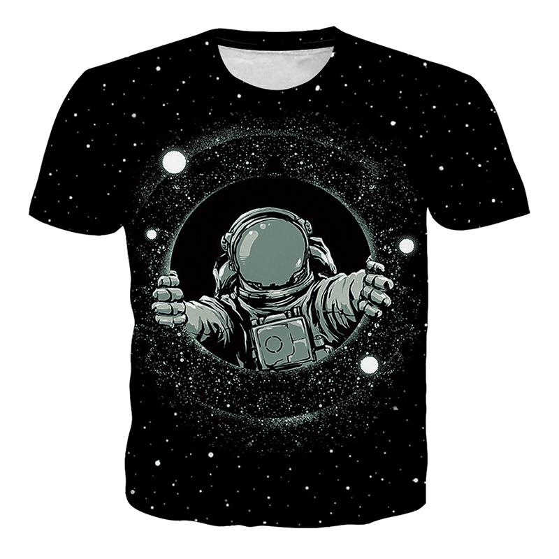 HipHop Men Galaxy Sky Tshirt Astronaut Spacemen Printed 3d T-shirt Men Black Short Sleeve Crewneck Summer Top Clothes Wholesales