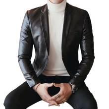 2018 diseño único de manga larga PU chaqueta negro Delgado elegante vestido  de los hombres ocasionales d45fe5802b6