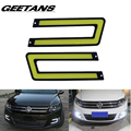 GEETANS 2pcs White COB Led Daytime Running Light DRL Headlight Fog Lamp DC12V Car Light Source U Shape