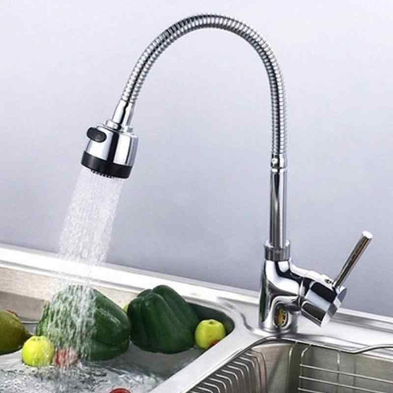 New 360 Degree Rotation Flexible Tap Stainless Steel Faucet Spout Kitchen Sink Faucet Pipe Fittings Single Hole Connection