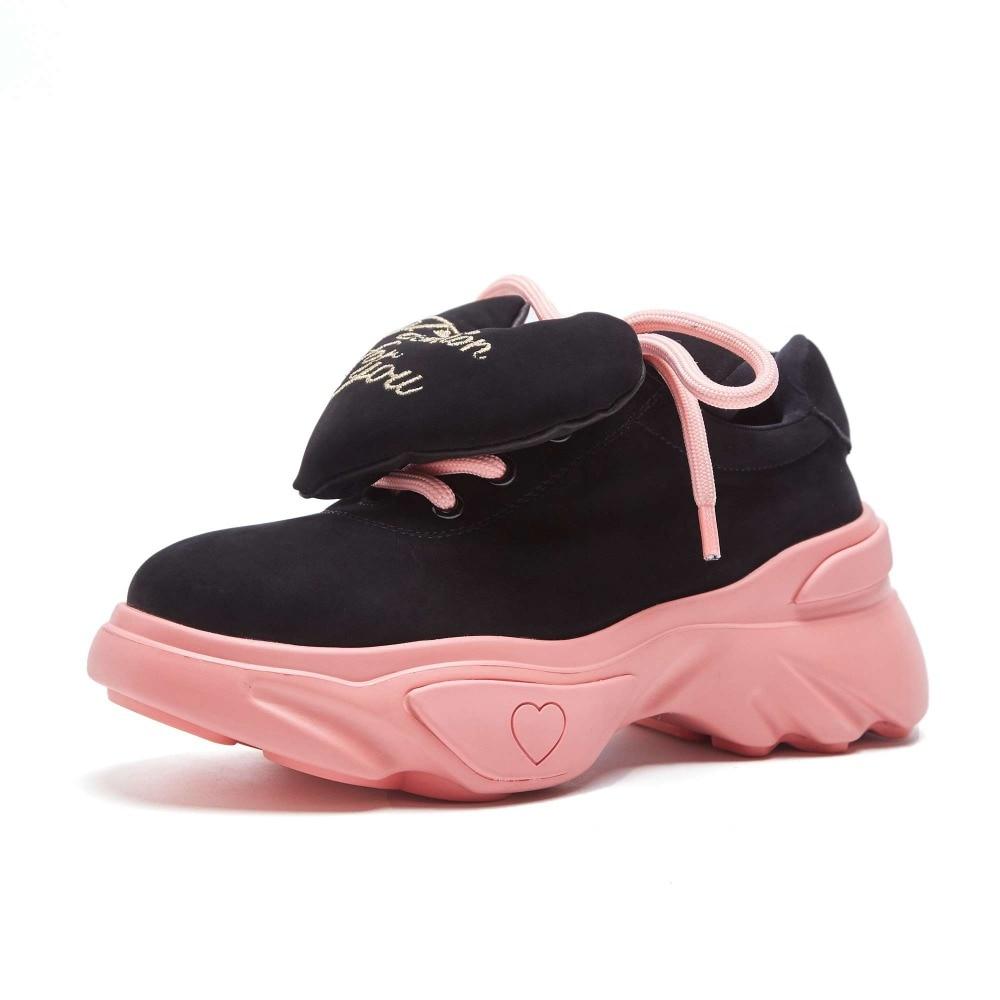 Taille Jeune Dame Lacets 2019 Style L08 Med Noir Sneaker Confortable Fond Épais Daim Chaussures Grande forme À Simple Plate kaki Fée Vache En Vulcanisé wqTT0nxIt