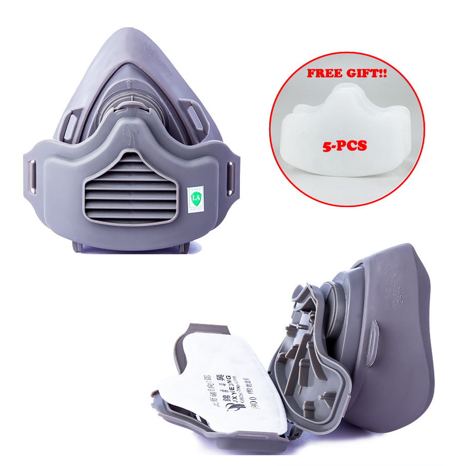 Half Face Dust Mask Dust-Proof Respirator For Builder Carpenter Daily Haze Protection Work Safety Mask + 5pcs Cotton Filters