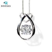 DovEggs Genuine 18K 750 White Gold 1 ct 6.5mm F Color Moissanite Pendant for Women Dancing Moissanite Diamond Fine Jewelry