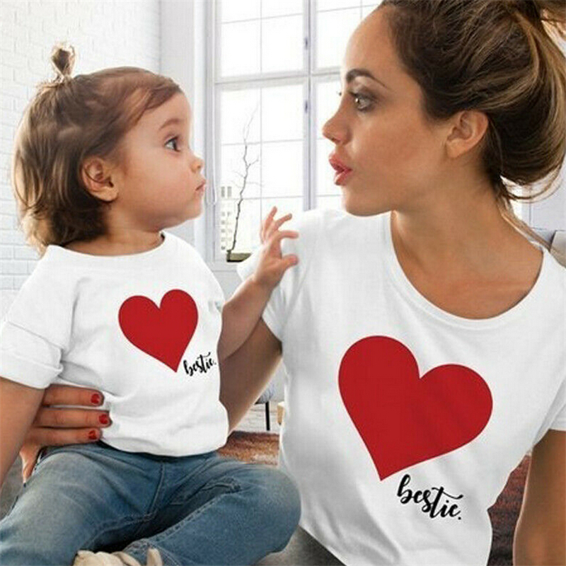 HTB1cz2SL4jaK1RjSZKzq6xVwXXar Summer Mommy And Me Clothes Heart Print T Shirt Family Costumes Baby And Mom Matching Clothes Mommy Daughter Matching Outfits