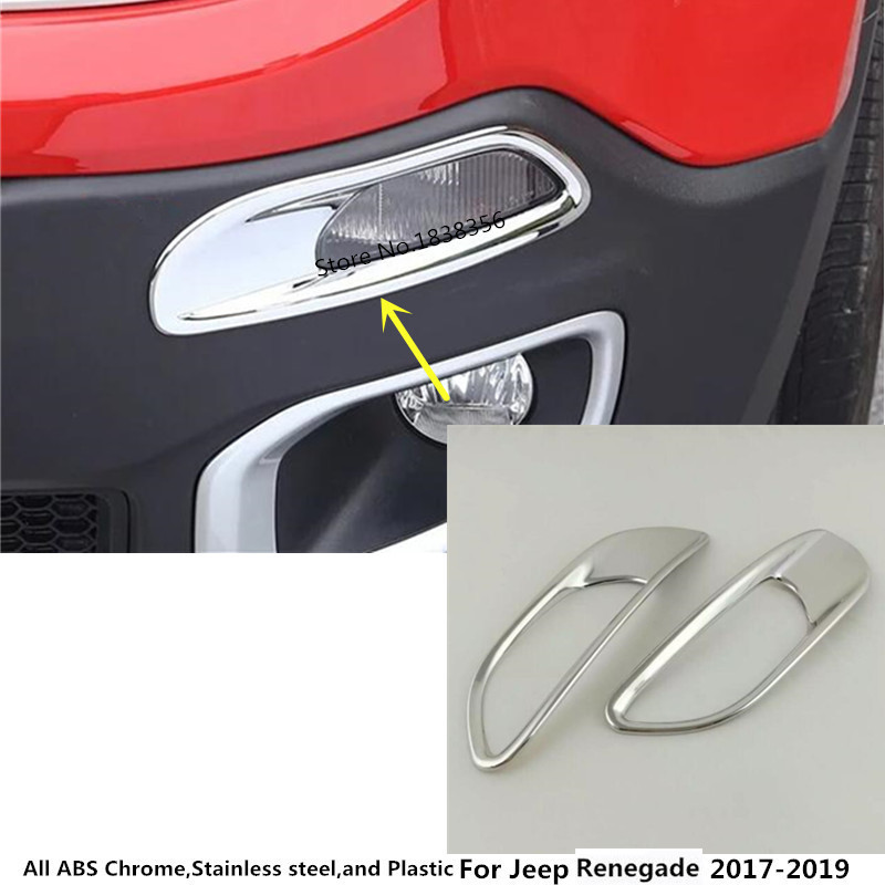 For Jeep Renegade 2015-2018 ABS Chrome Front Light Running Light  Cover Trim