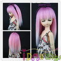 Hot Sales Heat Resistant Straight Pink White Ombre BJD Doll Wigs 1/3 1/4 1/6 for Choose