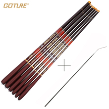 Goture ultra light carp fishing pole with spare front 3 tips carbon fiber telescopic fishing rod 3m-7.2m