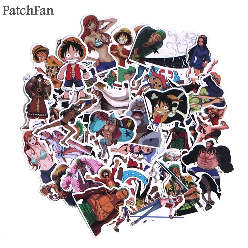 Patchfan 50pcs One piece cartoon Kids Toy Sticker for DIY scrapbooking album Luggage Laptop Phone notebook decals Sticker A1528 in Stickers from Home Garden