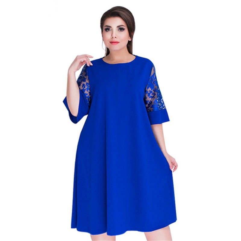 2018 Summer Dress Plus Size Women Dress Lace Sleeve Flare Casual Loose Dress 5XL Big Size Beach Dress Female Vestidos