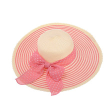 1953b898e7626 Mulheres Aba Larga Bowknot Tampas de Verão Sol Praia Chapéu de Palha Tarja  Chapéus De Disquete (Rosa)
