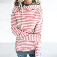 S 3XL Double Hood Hoodies Sweatshirt Women Autumn Winter Long Sleeve Side Zipper Hooded Casual Patchwork