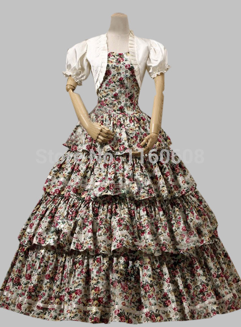 Southern Belle Victorian Tiered Gown Period Dress Reenactment Clothing Stage Ball Gown