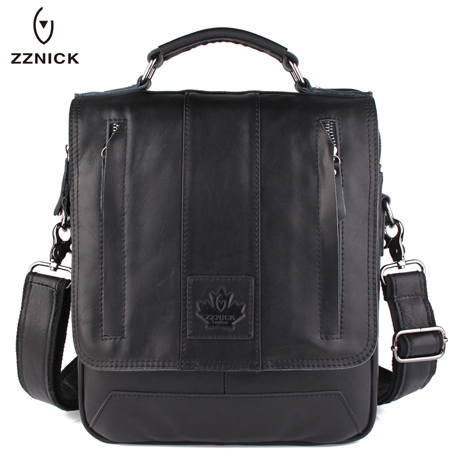 ZZNICK 2017 New Fashion Men Genuine Cowhide Leather Messenger Bag Vintage Design Male Cross body Shoulder Bag Men Bags Briefcase zznick 2017 new men genuine leather messenger bag male cowhide leather cross body shoulder bag vintage men bags handbag