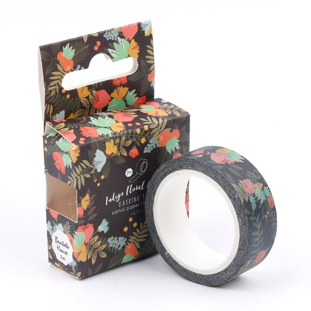 1.5cm*7m Blue Kam Flowers Washi Tape DIY Decoration Scrapbooking Planner Masking Tape Adhesive Tape Label Sticker Stationery