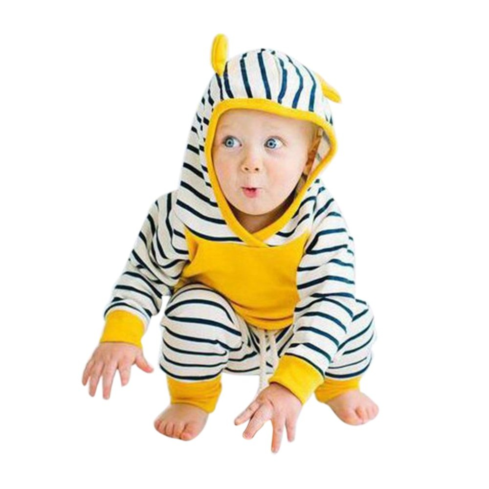 2 pcs Baby Boys Girl Long Sleeve Thick Hooded Tops Sweatshirt + Striped Pants Outfits Set