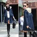Kpop Clothes girls denim jacket 2016 Fashion Denim Coat Cozy Personality Hooded Long Sleeve Coats Plus Size jumpsuit denim dress
